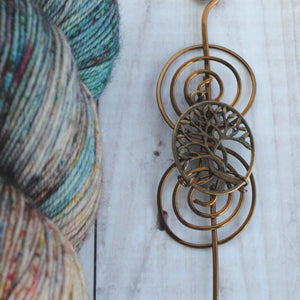 Shawl Pin, Pre-Order - Celtic Tree of Life Shawl Pin - Charmed Bronze - Crafty Flutterby Creations