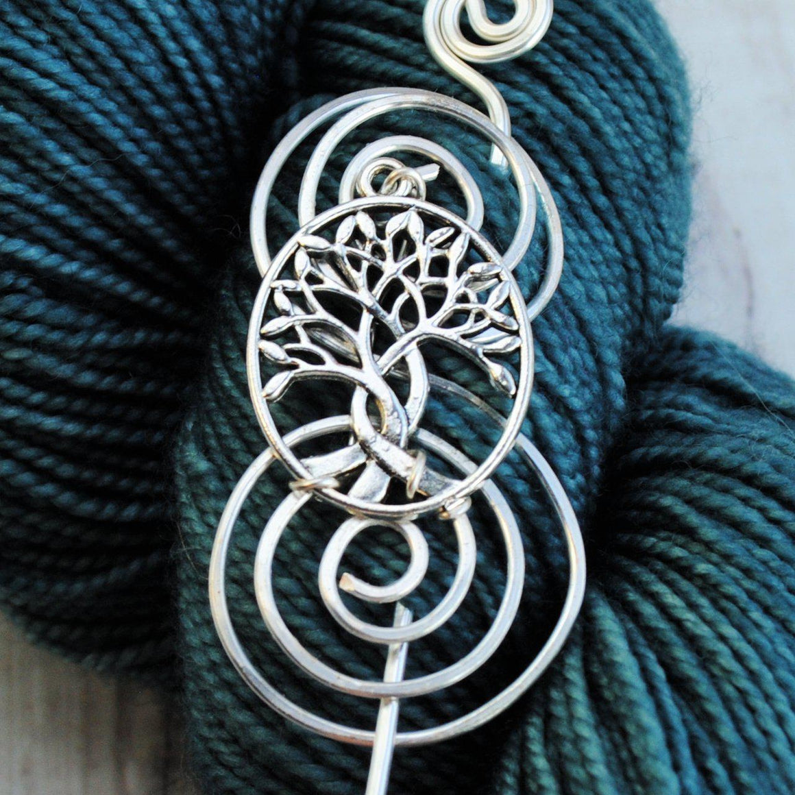 Shawl Pin, Pre-Order - Celtic Tree of Life Shawl Pin - Charmed Silver - Crafty Flutterby Creations
