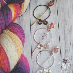 Cherry Quartz Penannular Shawl Pin in Silver, Vintage Bronze, or Rose Gold-Shawl Pin-Crafty Flutterby Creations