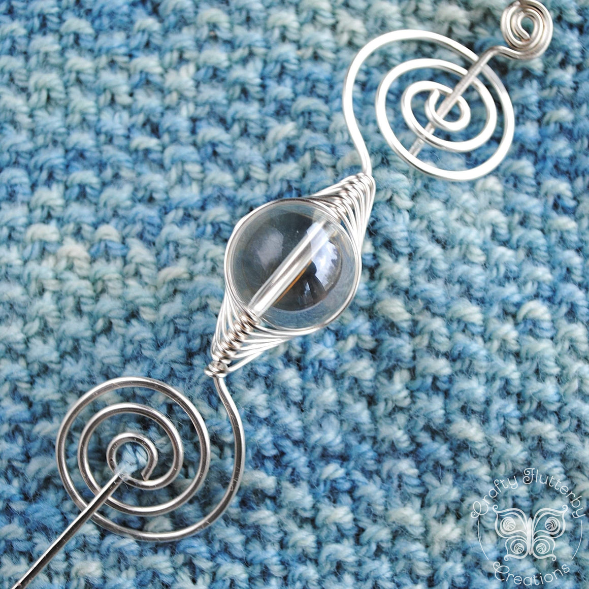 Shawl Pin, Clear Glass Shawl Pin - Large Silver - Crafty Flutterby Creations
