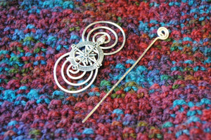 Shawl Pin, Compass Shawl Pin - Charmed Silver Inspirations - Crafty Flutterby Creations