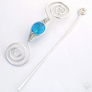 Shawl Pin, December Zircon Shawl Pin - Noteworthy Birthstone Silver - Crafty Flutterby Creations