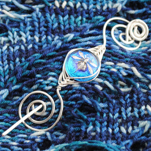 Shawl Pin, Deep Blue Dragonfly Shawl Pin- Noteworthy Czech Glass - Limited Edition - Crafty Flutterby Creations