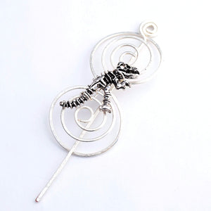 Shawl Pin, Dinosaur Shawl Pin - Charmed Silver - Last Chance - Crafty Flutterby Creations