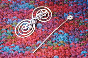 Shawl Pin, DNA Shawl Pin - Charmed Silver - Crafty Flutterby Creations
