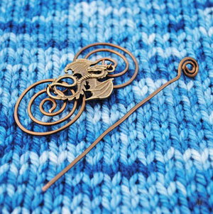 Dragon Shawl Pin - Charmed Bronze Fandoms-Shawl Pin-Crafty Flutterby Creations