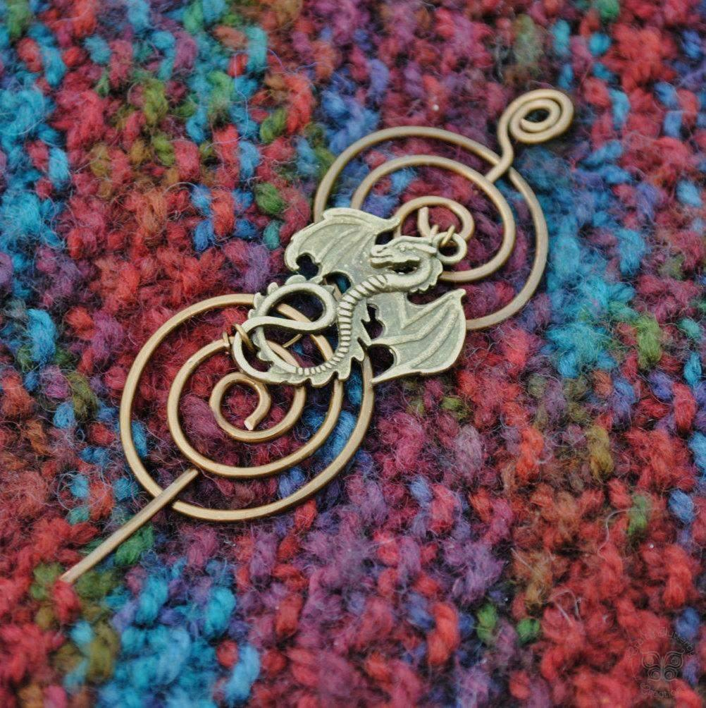 Shawl Pin, Dragon Shawl Pin - Charmed Bronze Fandoms - Crafty Flutterby Creations