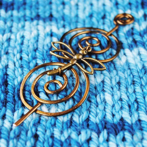 Shawl Pin, Dragonfly Shawl Pin - Charmed Bronze - Crafty Flutterby Creations