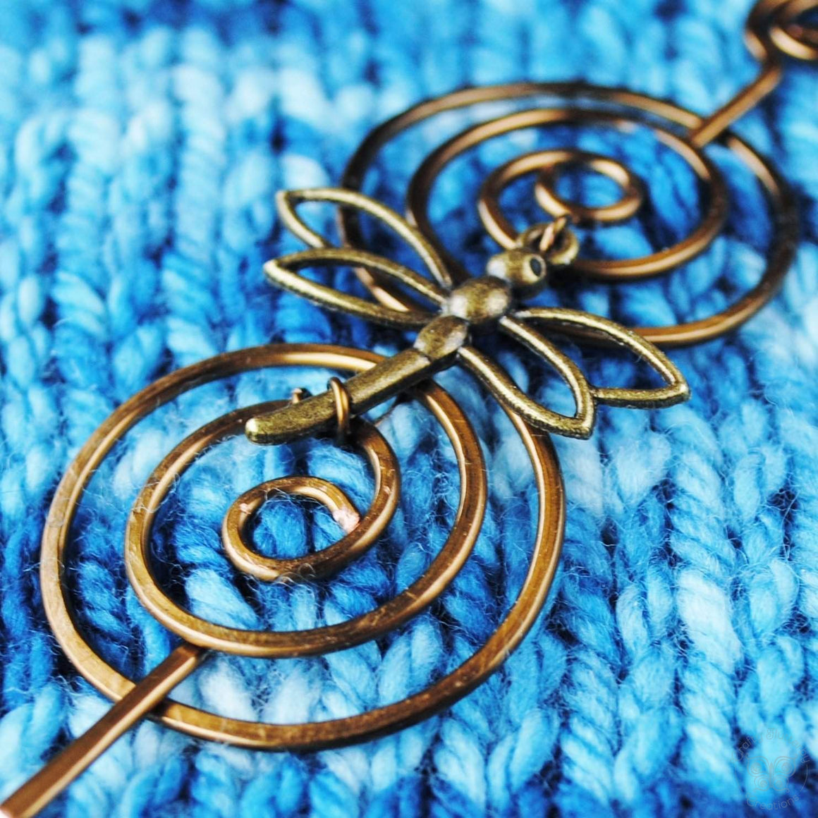 Dragonfly Shawl Pin - Charmed Bronze-Shawl Pin-Crafty Flutterby Creations