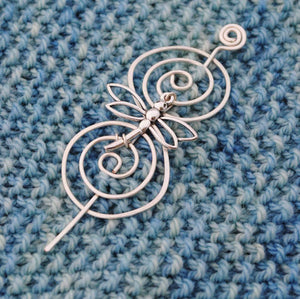 Shawl Pin, Dragonfly Shawl Pin - Charmed Silver - Crafty Flutterby Creations