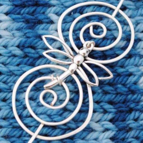 Dragonfly Shawl Pin - Charmed Silver-Shawl Pin-Crafty Flutterby Creations