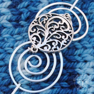 Shawl Pin, Elegant Spirals Shawl Pin - Charmed Silver - Crafty Flutterby Creations
