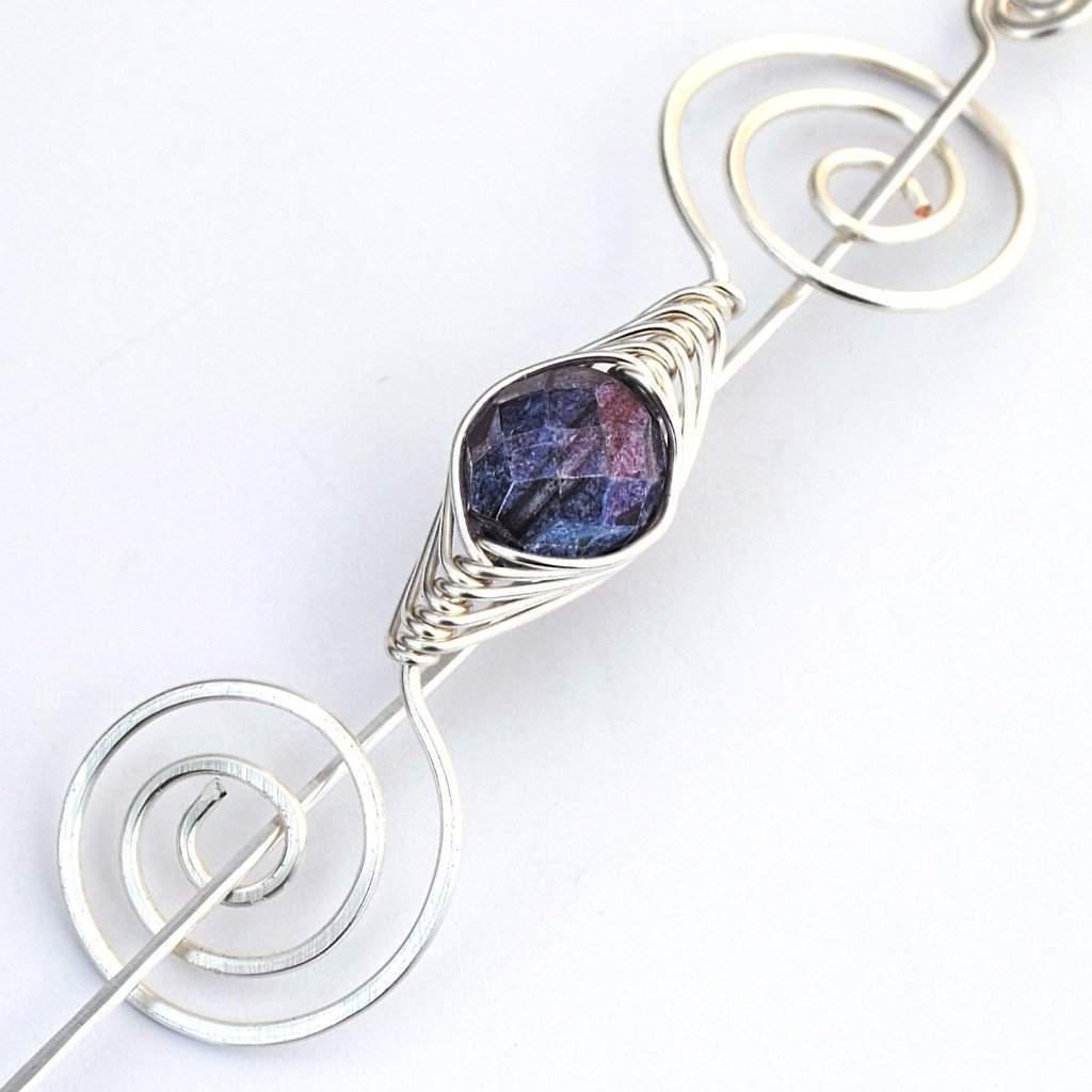 February Amethyst Shawl Pin - Silver Noteworthy Birthstone-Shawl Pin-Crafty Flutterby Creations