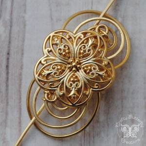 Shawl Pin, Flower - Gold Charmed - Crafty Flutterby Creations