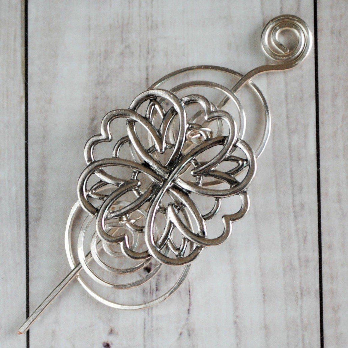 Shawl Pin, Pre-Order - Friendship Shawl Pin - Charmed Silver - Crafty Flutterby Creations