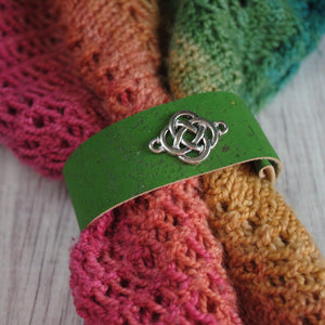 Shawl Cuff, Green Celtic Shawl Cuff - Charmed - Crafty Flutterby Creations