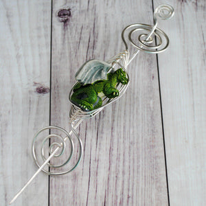 Shawl Pin, Green Dragon Shawl Pin - Large Silver - Crafty Flutterby Creations