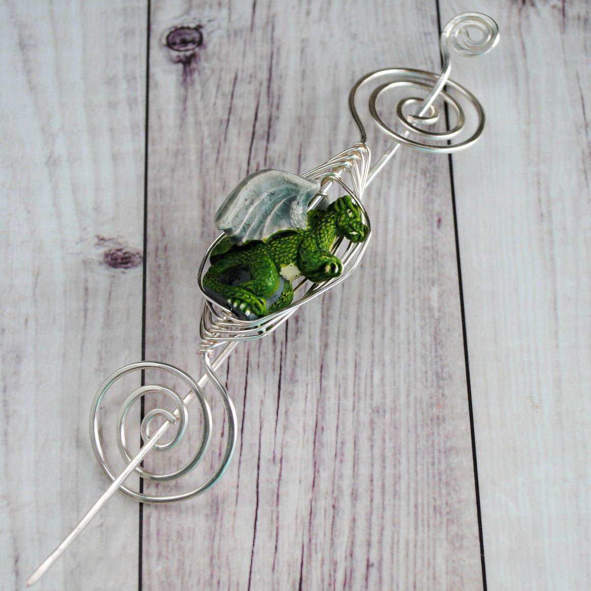 Shawl Pin, Green Dragon Shawl Pin - Large Silver - Limited Edition - Crafty Flutterby Creations
