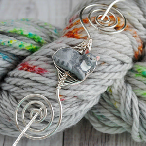 Shawl Pin, Grey Cat Shawl Pin - Large Silver - Crafty Flutterby Creations
