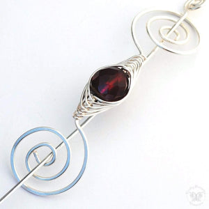 Shawl Pin, January Garnet Shawl Pin - Noteworthy Birthstone Silver - Crafty Flutterby Creations
