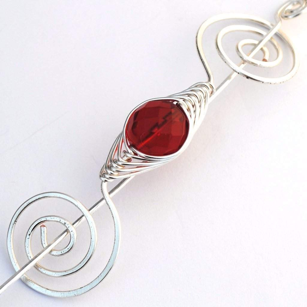 July Ruby Red Shawl Pin - Noteworthy Birthstone Silver-Shawl Pin-Crafty Flutterby Creations