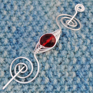 Shawl Pin, July Ruby Red Shawl Pin - Noteworthy Birthstone Silver - Crafty Flutterby Creations