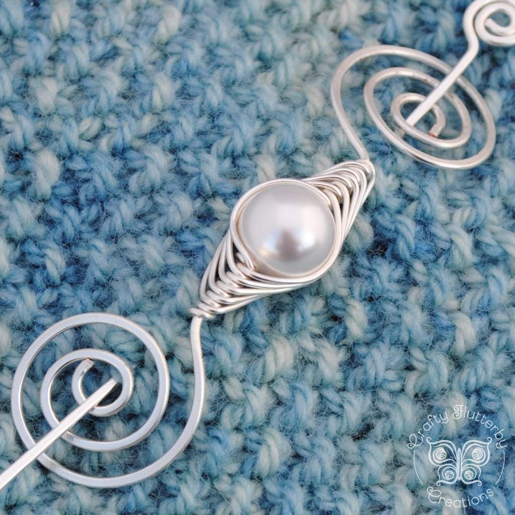 June Pearl Shawl Pin - Noteworthy Birthstone Silver-Shawl Pin-Crafty Flutterby Creations