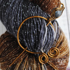 Labradorite Penannular Pin in Silver or Vintage Bronze-Shawl Pin-Crafty Flutterby Creations