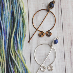 Shawl Pin, Lapis Lazuli Penannular Pin in Silver or Vintage Bronze - Crafty Flutterby Creations