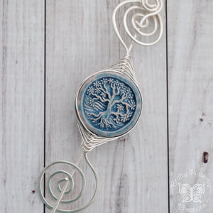 Shawl Pin, Large Noteworthy Silver with Tree in mostly blue - Crafty Flutterby Creations