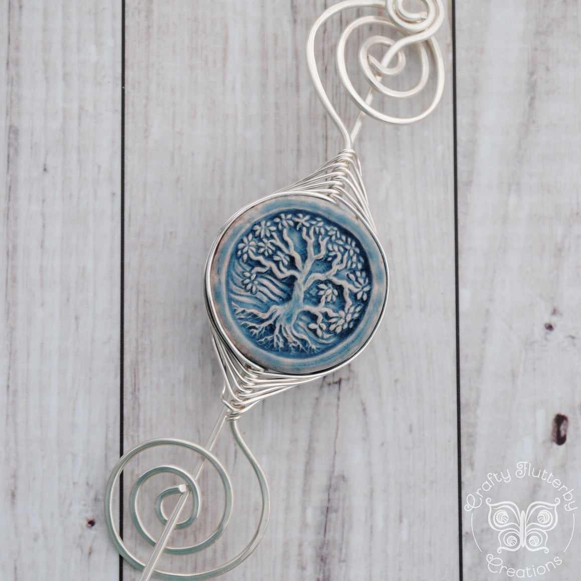 Large Noteworthy Silver with Tree in mostly blue-Shawl Pin-Crafty Flutterby Creations