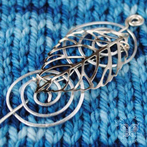 Shawl Pin, Leaf Shawl Pin - Charmed Silver - Crafty Flutterby Creations