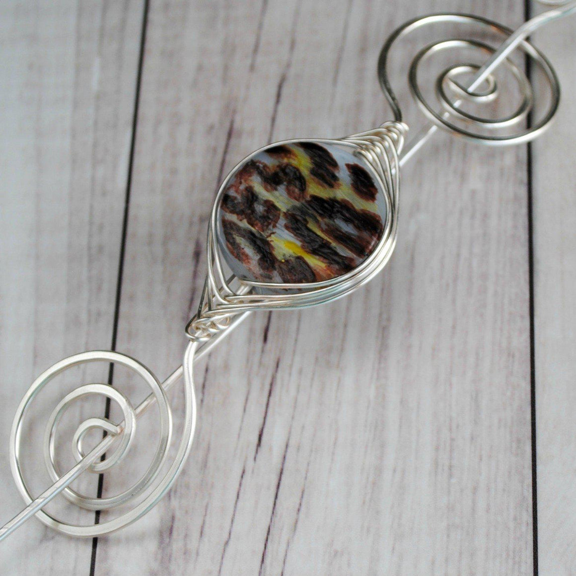 Shawl Pin, Leopard Print Glass Shawl Pin - Large Silver - Crafty Flutterby Creations