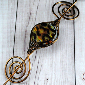Shawl Pin, Leopard Print Shawl Pin - Large Bronze - Crafty Flutterby Creations