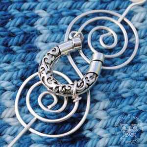 Shawl Pin, Lucky Horseshoe Shawl Pin - Charmed Silver Inspirations - Crafty Flutterby Creations
