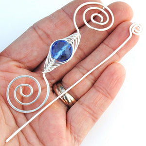 Shawl Pin, March Aquamarine Shawl Pin - Noteworthy Birthstone Silver - Crafty Flutterby Creations