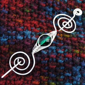 Shawl Pin, May Emerald Green Shawl Pin - Noteworthy Birthstone Silver - Crafty Flutterby Creations