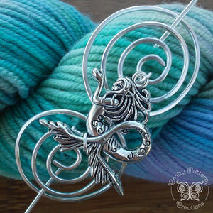 Shawl Pin, Mermaid Shawl Pin - Charmed Silver Fandoms and Inspirations - Crafty Flutterby Creations