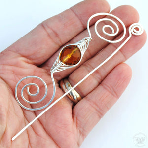 Shawl Pin, November Topaz Shawl Pin - Noteworthy Birthstone Silver - Crafty Flutterby Creations