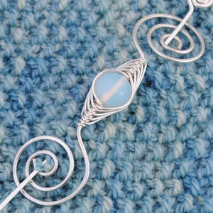 Shawl Pin, October Opal Shawl Pin - Noteworthy Birthstone Silver - Crafty Flutterby Creations