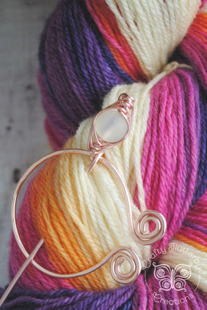 Shawl Pin, Opaline Penannular Shawl Pin in Rose Gold - Crafty Flutterby Creations