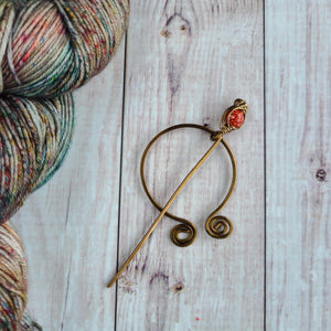Orange Penannular Shawl Pin in Vintage Bronze-Shawl Pin-Crafty Flutterby Creations