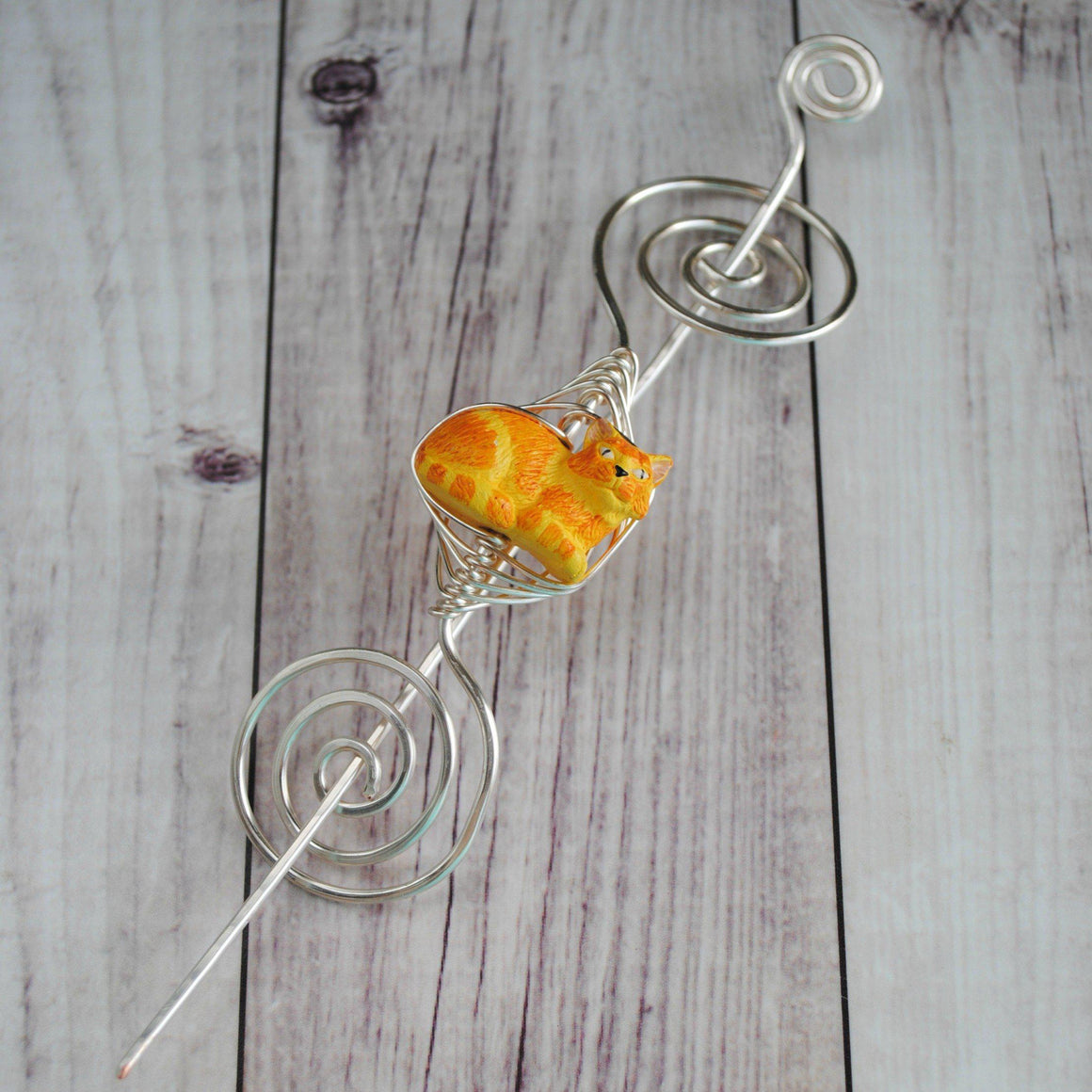Shawl Pin, Orange Tabby Cat Shawl Pin - Large Silver - Crafty Flutterby Creations