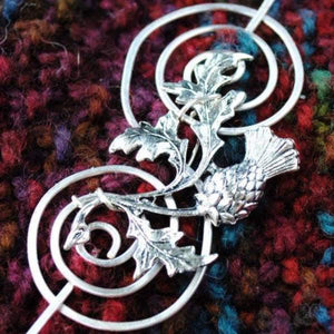 Shawl Pin, Outlander Inspired Shawl Pin with Scottish Thistle - Charmed Silver Fandoms - Crafty Flutterby Creations