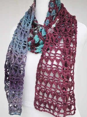 Pattern, PDF Hues in Flux Crocheted Scarf - Crafty Flutterby Creations