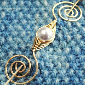 Shawl Pin, Pearl Shawl Pin - Gold Noteworthy Classic - Crafty Flutterby Creations