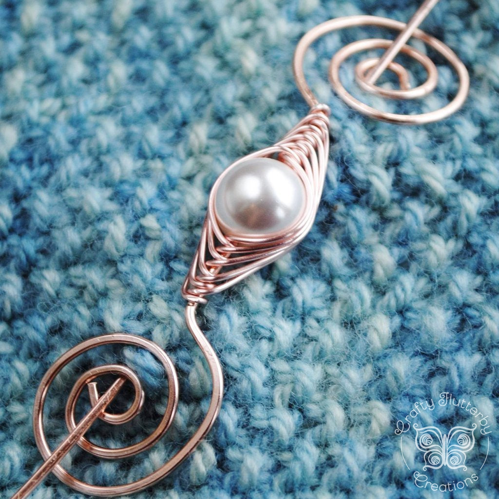 Pearl Shawl Pin - Rose Gold Noteworthy Classic-Shawl Pin-Crafty Flutterby Creations