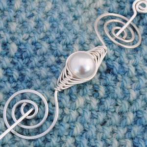 Shawl Pin, Pearl Shawl Pin - Silver Noteworthy Classic - Crafty Flutterby Creations