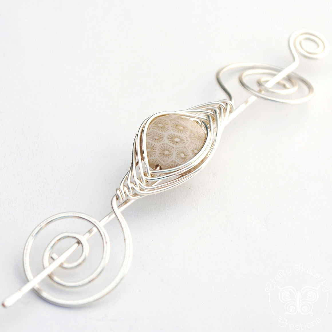 Shawl Pin, Petoskey Stone Shawl Pin - Noteworthy Naturals Silver - Crafty Flutterby Creations