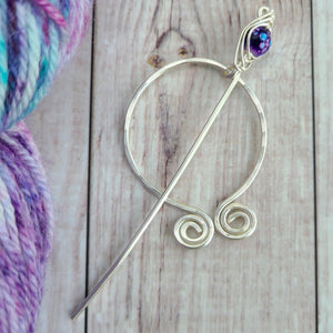 Purple Penannular Shawl Pin in Silver-Shawl Pin-Crafty Flutterby Creations